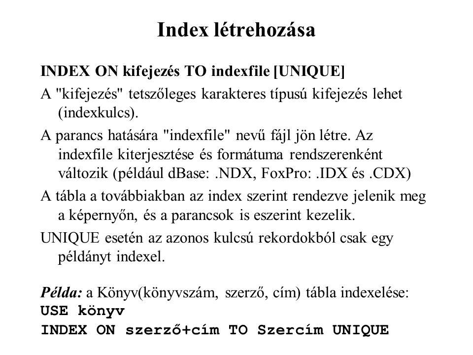 Index létrehozása INDEX ON kifejezés TO indexfile [UNIQUE]